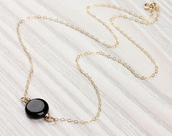 Onyx necklace / Black Onyx pendant / Black gemstone necklace / Simple black necklace / Gold black necklace / Bridesmaid necklace | Moirae