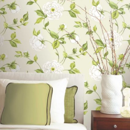 Colours paste the wall camelia cream green wallpaper image 2