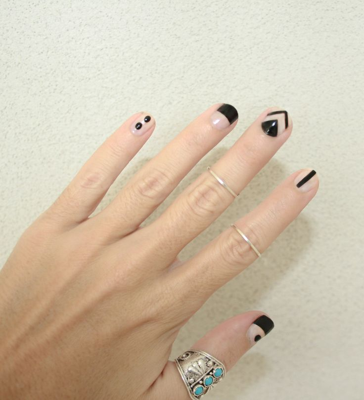cute boho black and nude nails