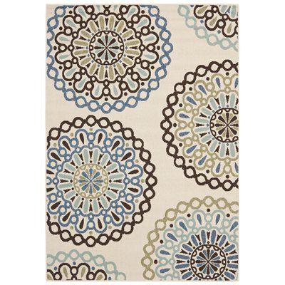 Safavieh VER092-0615 Veranda Area Rug, Cream / Blue