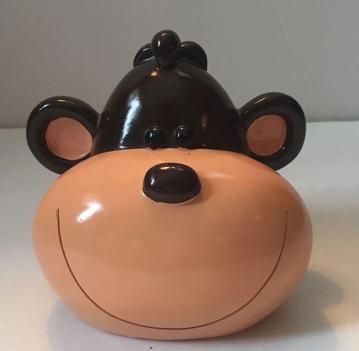 Monkey Head Coin Plastic Piggy Bank Ape Gorilla Brown  | eBay