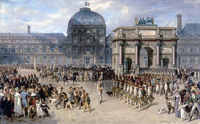 Depiction of a military review during the First French Empire in 1810, in front of the Tuileries.