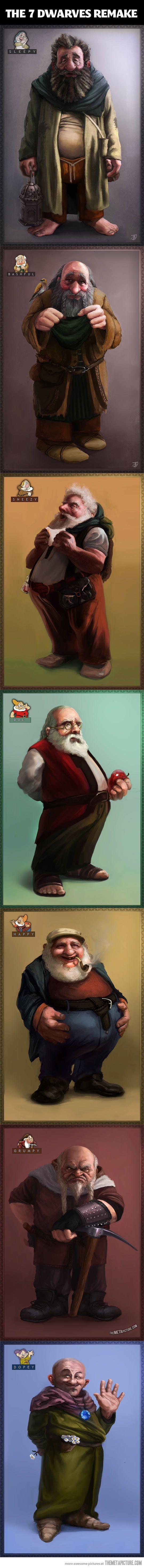 The 7 Dwarves reimagined… is it odd that I find dwarves absolutely adorable? << I love dwarves!