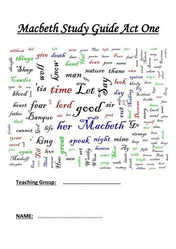 Macbeth Printable Study Guide Worksheets Act One