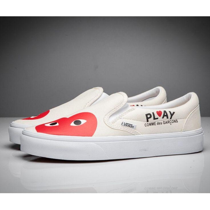 Vans x Comme des Garcons Play Slip-On Shoes Beige   Beige vans old ...
