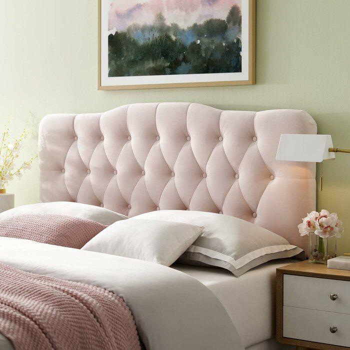 Roundtree Upholstered Panel Headboard Velvet Headboard Pink Headboard Bedroom Headboard