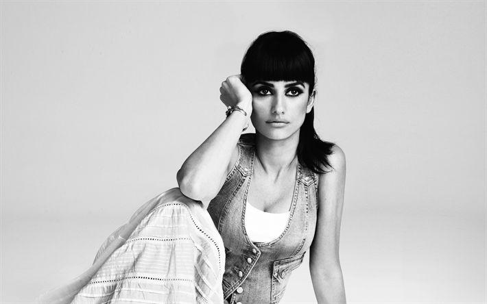 Descargar fondos de pantalla Penélope Cruz, la Actriz, monocromo, mujer hermosa, morena, latina actrices