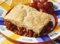All the great taste of classic sloppy joes in an easy one-skillet pot pie.  No one will miss the buns!