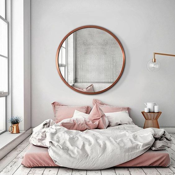 Large round mirror above bed     Gold framed round mirror above a desk     Big round mirror in Bathroom     Big round mirror in PInk room ...