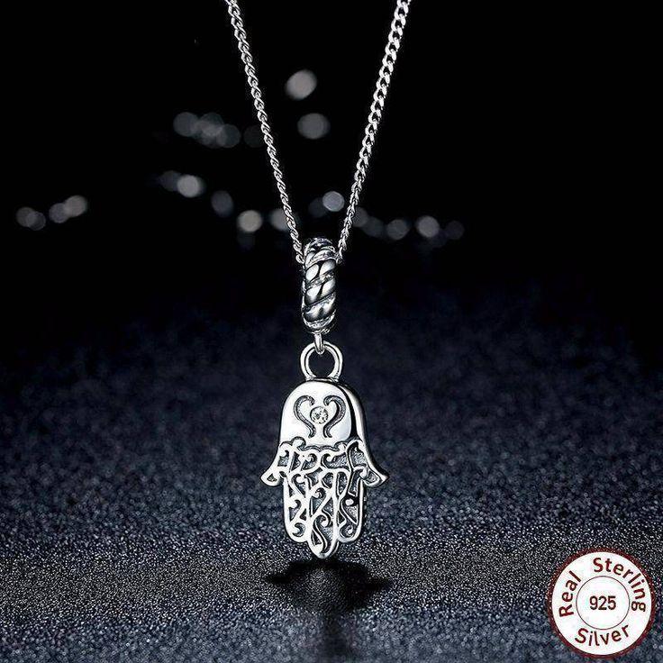 925 Sterling Silver Lucky Hamsa Pendant Necklace Women Fine Jewelry