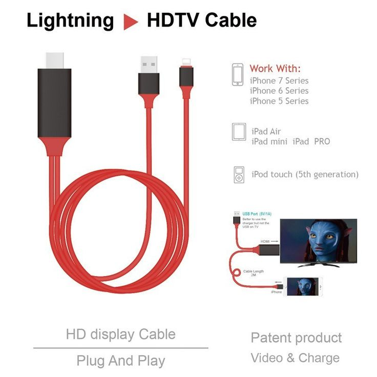 35% Off Mobile Screen to TV HDMI Cable for iPhone w/ FREE Shipping