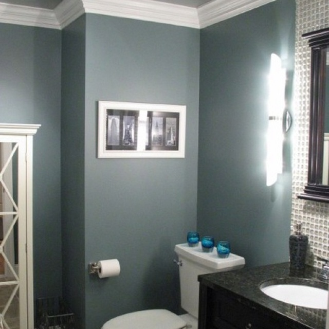 Blue gray bathroom love this color paint schemes Bathroom colors blue and brown