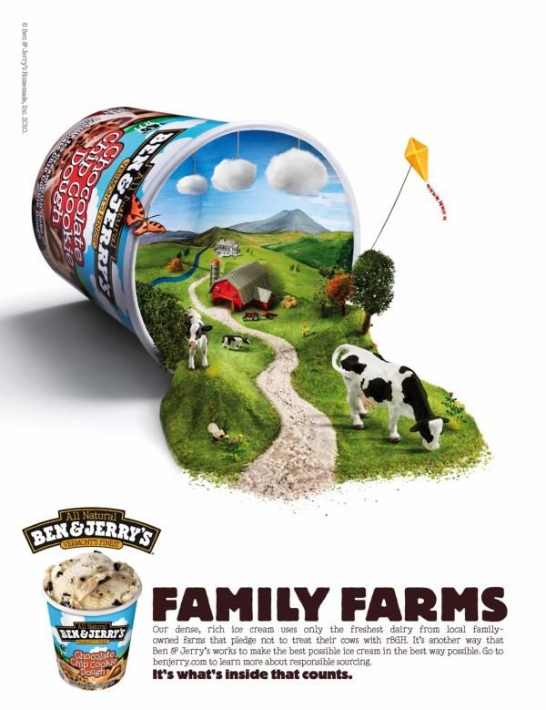 """This is a really nicely illustrated ad with lots of detail. I like the hierarchy of the text and the typeface used for """"family farms.' It's quite large and bold and reminds me of cows."""