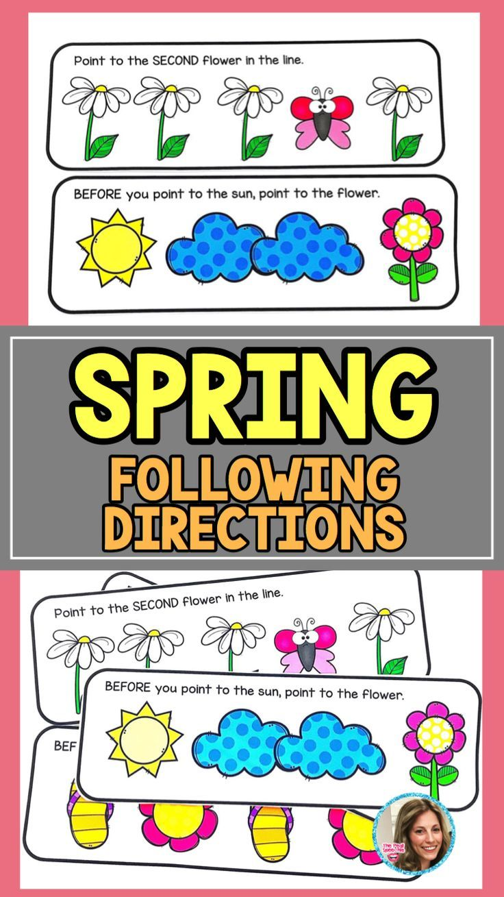 following directions with embedded concepts for spring!!! love this for working on following directions with my preschoolers and speech therapy students!
