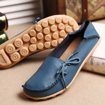 US Size 5-13 New Women Soft Comfortable Lace-Up Flat Loafers Breathable Casual L - US$20.56