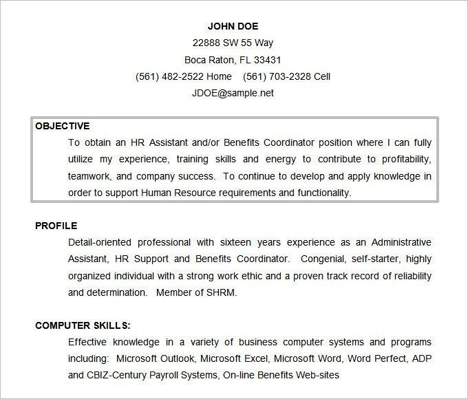 Resume Format Objective Resumeformat Functionalresumetemplate