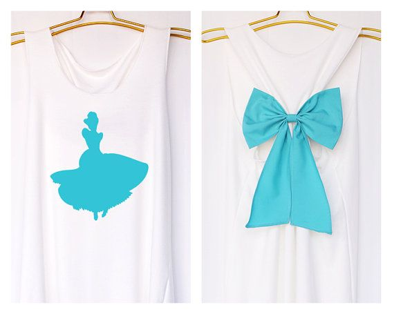 Cinderella Disney Princess Tank Premium with Bow : Workout Shirt - Keep Calm Shirt - Tank Top - Razor Back Tank - Princess tank