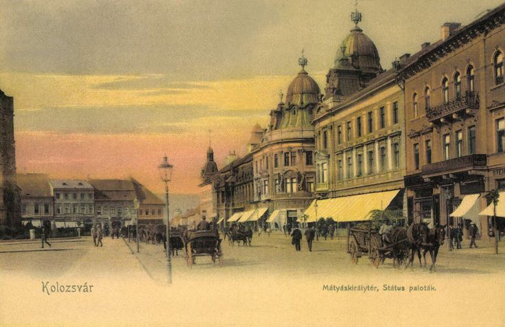 Kolozsvár:Mátyás király tér és Státus paloták,1905-ben.  King Mátyás Square.