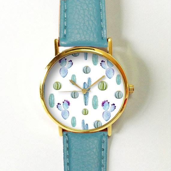 Cactus Succulents Watch  Women Watches  Leather Watch by FreeForme