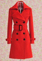 $28.85 Double Breasted Pockets Waistband Worsted Solid Color Coat For Women