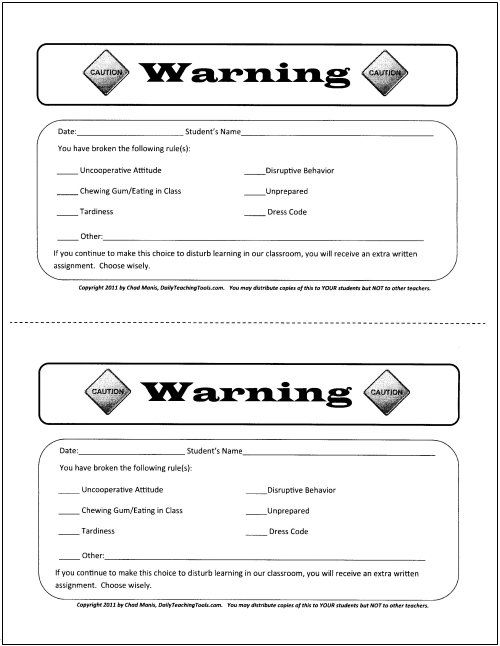 23 best TN Middle School Behavior Charts and Checklists images on - sample behavior contract