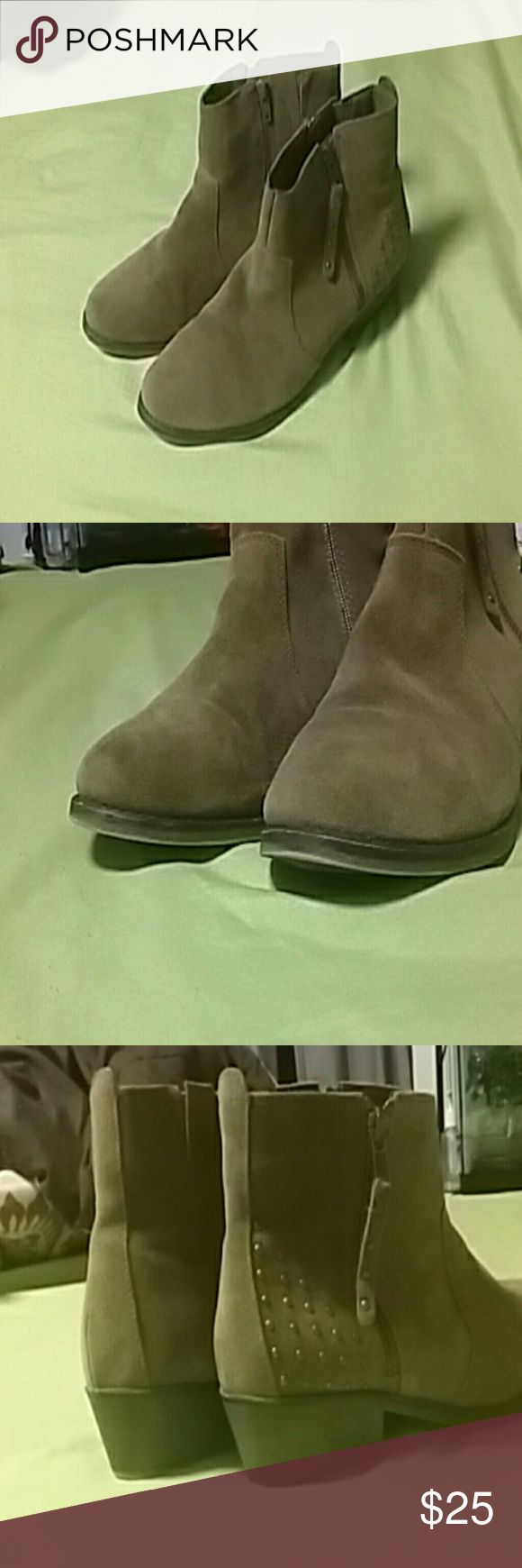 Ankle boots Tan , suede boots w/ zippers on both sides. Used very few times. Clean. Smoke free home. white Mountain  Shoes Ankle Boots & Booties