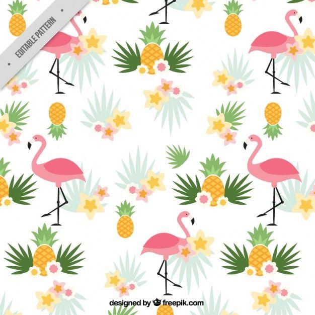 フラミンゴとパイナップルパターン 無料ベクター