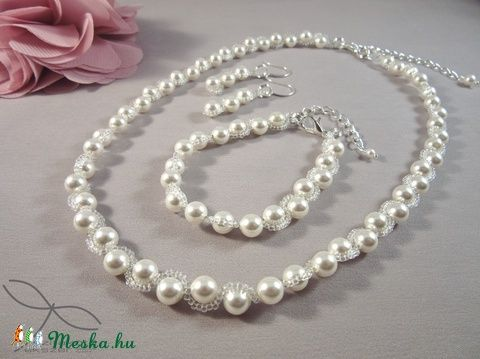 Meska - Hullámos gyöngysor esküvőre Swarovski gyöngyből Edina09 kézművestől
