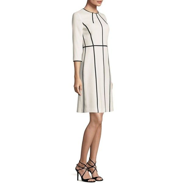 Escada Two Tone Wool Dress (74.560 RUB) ❤ liked on Polyvore featuring dresses, 3/4 sleeve dresses, white 3 4 sleeve dress, 3 4 length sleeve dress, wool dresses and white color dress
