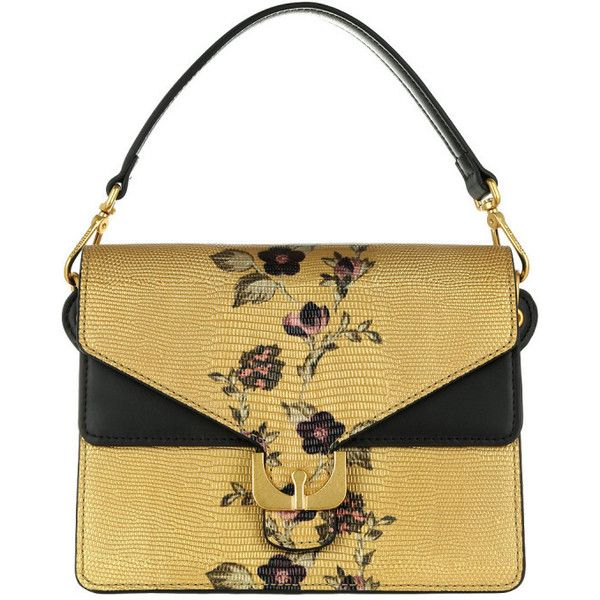 Coccinelle Shoulder Bag - Ambrine Exotic Print Oro/Noir - in gold -... ($585) ❤ liked on Polyvore featuring bags, handbags, shoulder bags, gold, floral purse, man bag, hand bags, gold handbags and white purse
