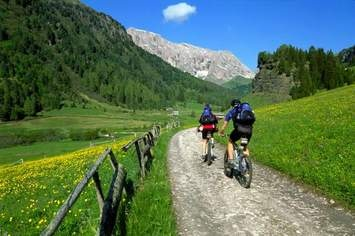 Fiemme and Fassa Dolomites cycling route pedestrian and bike path from Canazei to Molina di Fiemme Trentino