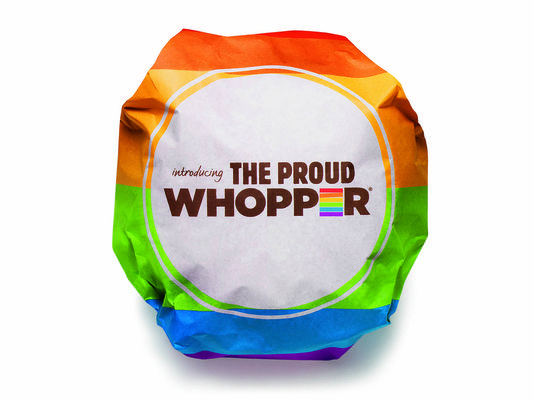 "I'M PROUD TO BOYCOTT BURGER KING!  Burger King's gay pride burger, The Proud Whopper comes wrapped in rainbow colored wrapper w/: ""We are all the same inside."" It will be sold thru Thurs at 1 BK restaurant on San Francisco's Market St, at heart of route for last weekend's 44th annual San Fran Pride Celebration & Parade. ""It showcases who we are as a brand,"" says Fernando Machado, sr vp of global brand mgmt at BK. ""It shows how we, as a brand, believe in self-expression."""