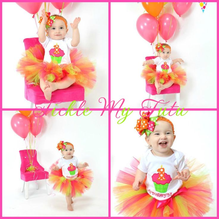 Hot Pink, Lime Green, and Orange Cupcake Birthday Tutu Outfit, Neon Cupcake Birthday Tutu Set, Cupcake Birthday Tutu Set *Bow NOT Included* by TickleMyTutu on Etsy https://www.etsy.com/listing/114589216/hot-pink-lime-green-and-orange-cupcake