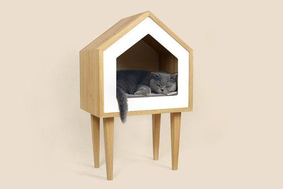 Premium Cat House Cat House Oak Wood Cat House Cat Tree Etsy Cat Houses Indoor Wood Cat Pet Furniture