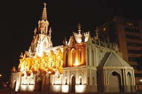La Ermita Church at night