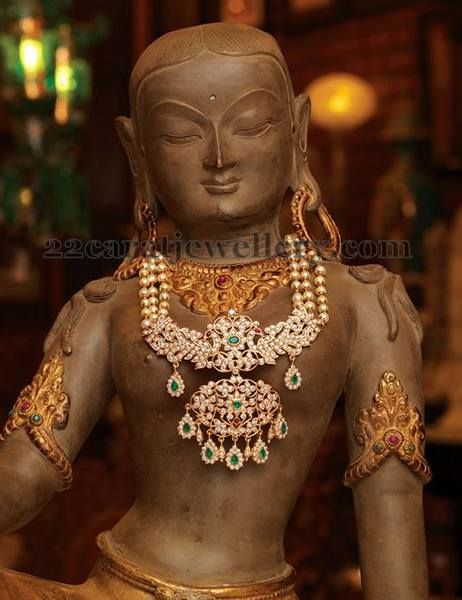Rani Haram with Huge Diamond Pendant | Jewellery Designs