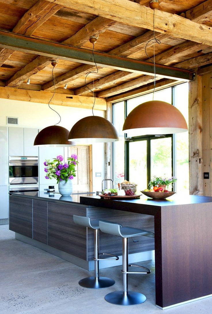 Cosmo condo kitchen showroom paris kitchens toronto - Modern Kitchen Island Rustic Barn Dome Pendant Lights