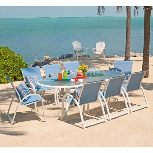 Casual 9 Piece Outdoor Dining Set Custom Order With Your Choice Of Frame And Sling