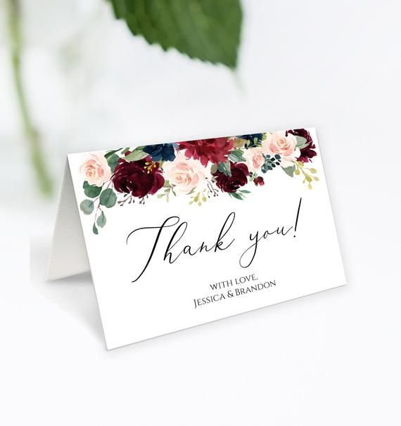 Personalized Thank You Card Folded Thank You Cards Wedding Thank