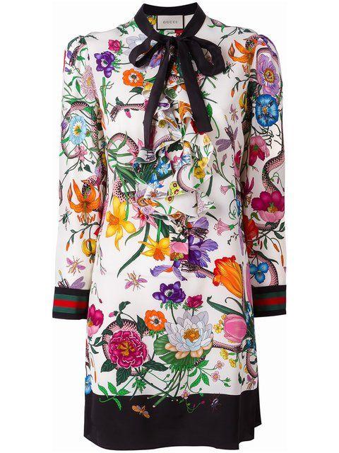 GUCCI Floral Snake Print Dress. #gucci #cloth #dress