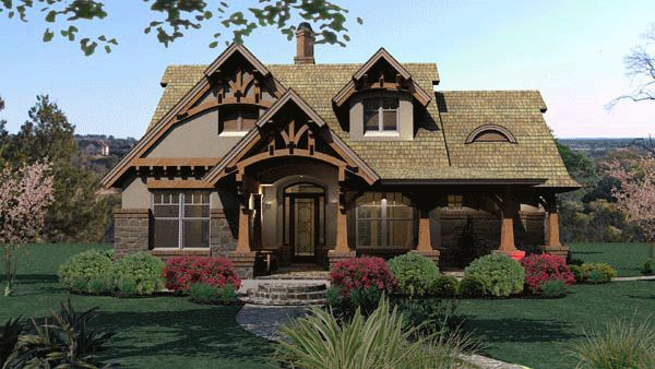 Tuscan House Plan 65870 | Total Living Area: 1421 sq. ft., 3 bedrooms & 2 bathrooms. #tuscanstyle #houseplan