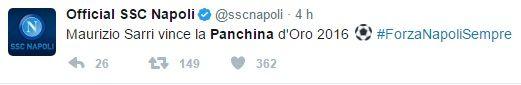 panchina d'oro per sarri. battuto allegri maurizio sarri è riuscito a conquistare il trofeo di panchina d'oro. un onore che lo stesso allenatore del napoli ci tiene a precisare. sarri, infatti, ha dichiarato alla stampa di essere molto felic #sarri #napoli #juventus #allegri #panchina