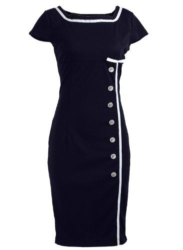 Navy Blue Sailor Nautical Pinup Rockabilly Vintage Retro Pencil Womens Dress [Buy Now: $34.99 - $37.91 ]