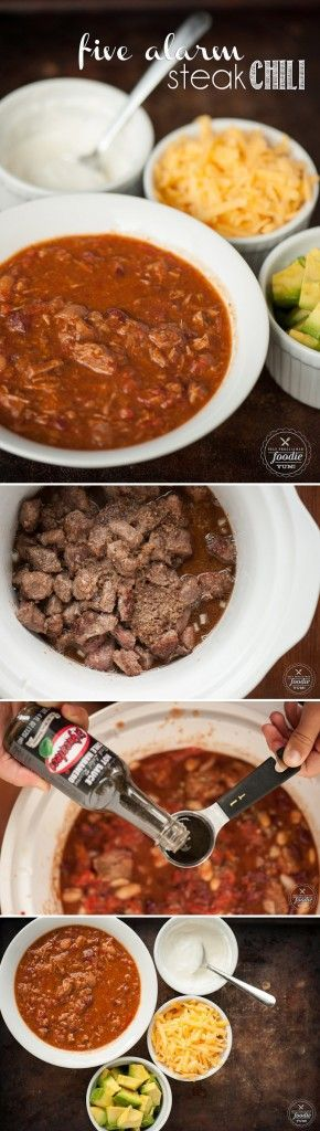 This spicy Five Alarm Steak Chili is the best recipe you'll ever find, plus slow cooking it in the crockpot makes it perfect game day tailgating grub.