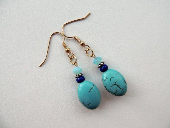 blue agate earringsagate earrings dangle by Homeforglasslovers, $15.00