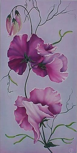 Sweet peas on silk