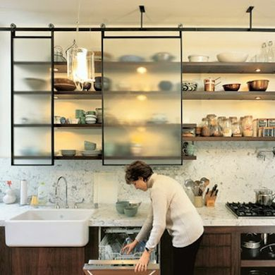 11 Clever Alternatives to Kitchen Cabinets. Like the idea but with an opaque sliding door.: