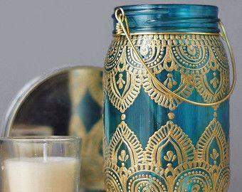 Eclectische Marokkaanse stijl opknoping lantaarn Teal door LITdecor