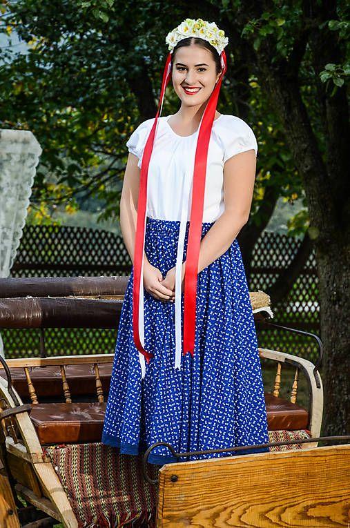 krasavrukach / FOLK suknička MODRÁ