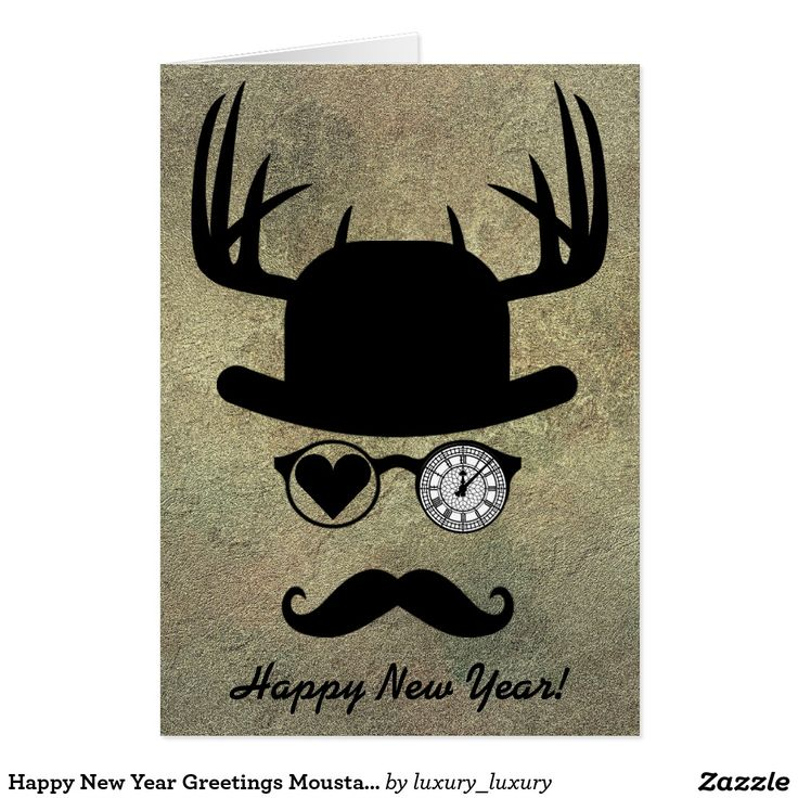 Happy New Year Greetings Moustache London Greeting Card